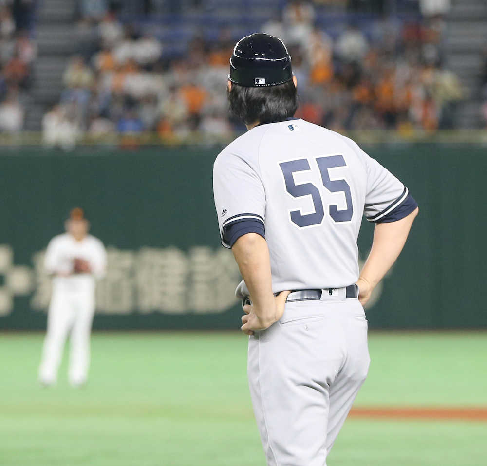 松井「55」帰ってきた 一塁ベースコーチ務め「膝が痛くなってきました」