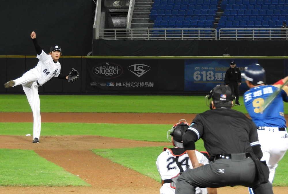 ロッテ・二木 「大王」王柏融を直球でねじ伏せる 台湾ラミゴ戦で5回2安打1失点