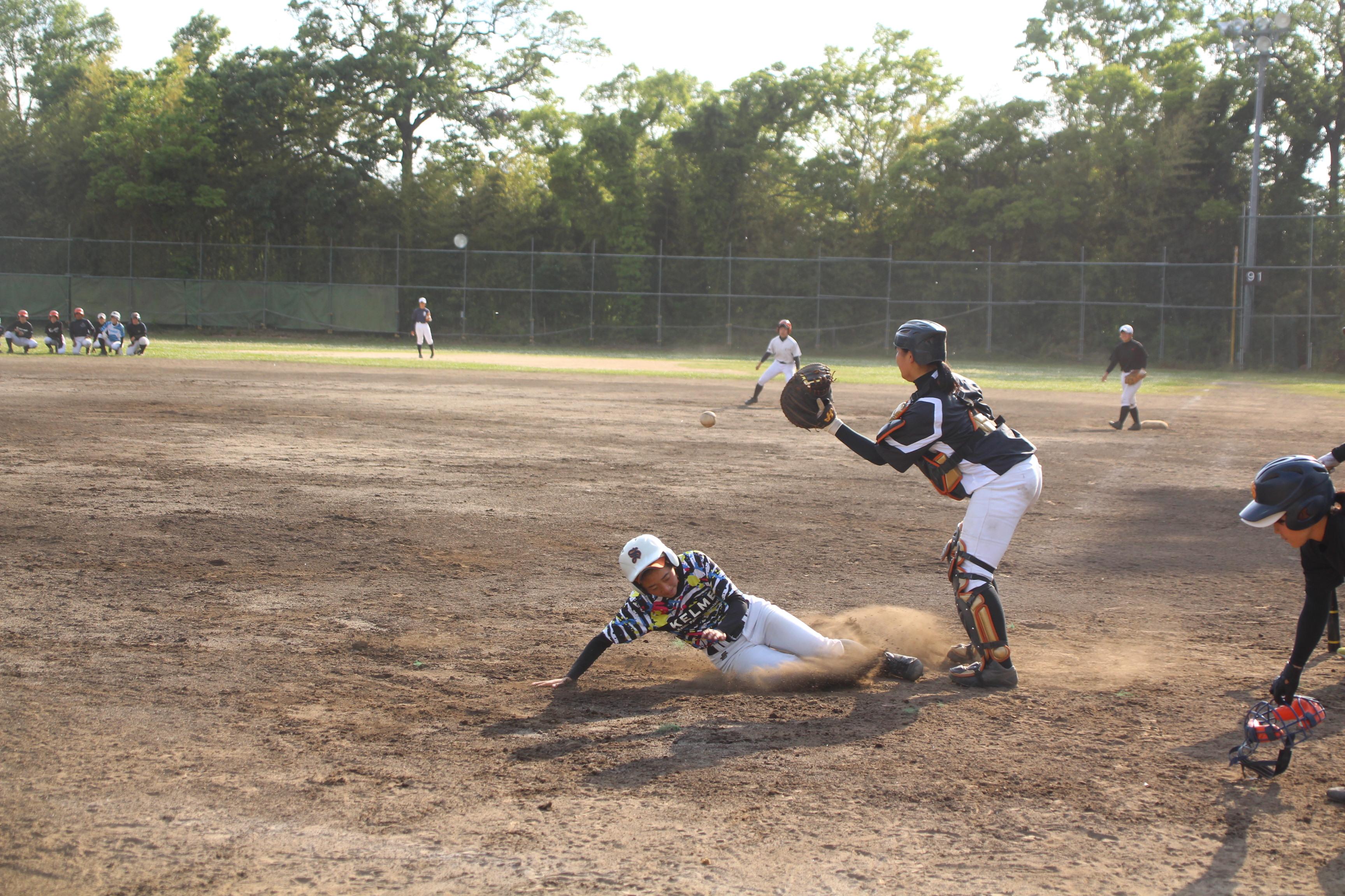 守備練習を行う埼玉栄女子野球部の選手たち