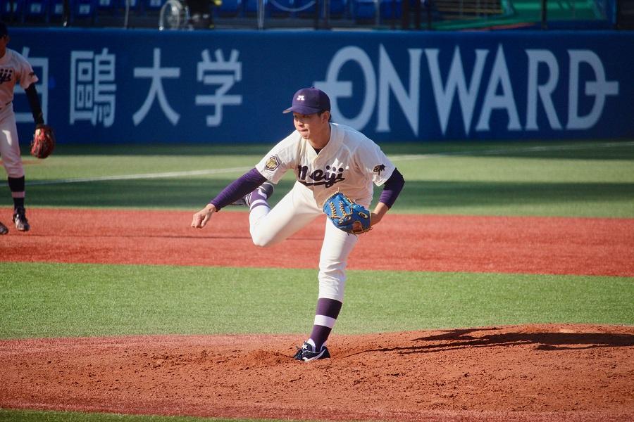 約1ヶ月ぶりのリーグ戦登板となった明大・竹田。序盤は好投したが5回につかまった