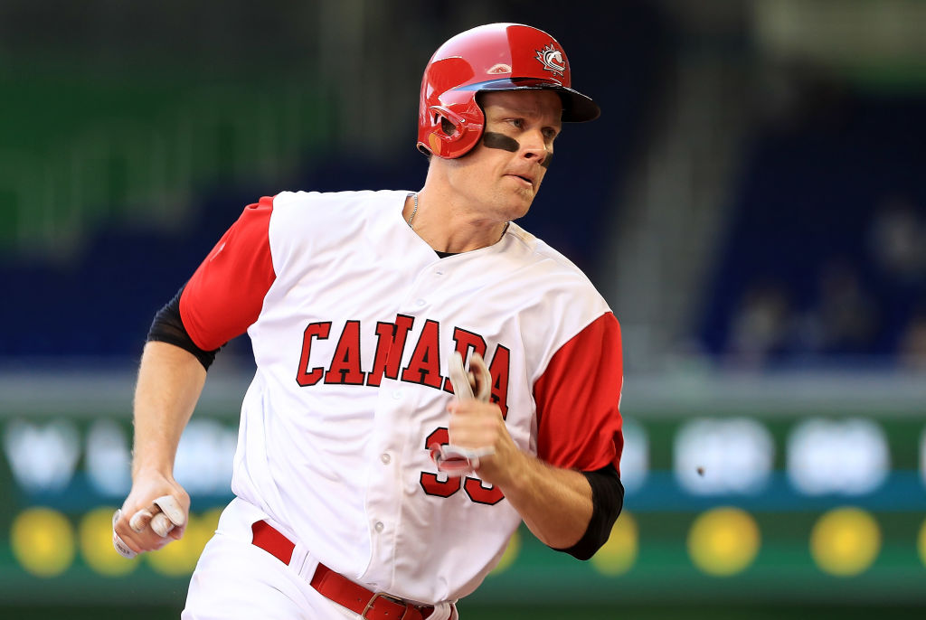 MIAMI, FL - MARCH 11:  Justin Morneau #33 of Canada scores a run in the first inning during a Pool C game of the 2017 World Baseball Classic against Colombia at Miami Marlins Stadium on March 11, 2017 in Miami, Florida.  (Photo by Mike Ehrmann/Getty Images)