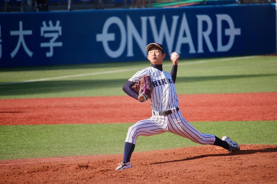 立大の先発・田中は7回5安打1失点。2回以降無失点に抑える好投でリーグ戦通算17勝目を挙げた